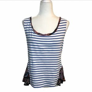 Postmark • Anthropologie Striped Floral Tank Top M